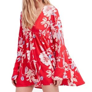 Free People Floral Print Swing V-Neck Tunic Dress